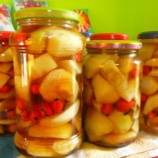 Jablečný kompot s jeřabinami a šípky