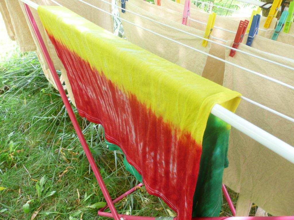 Sušení a praní barvené látky