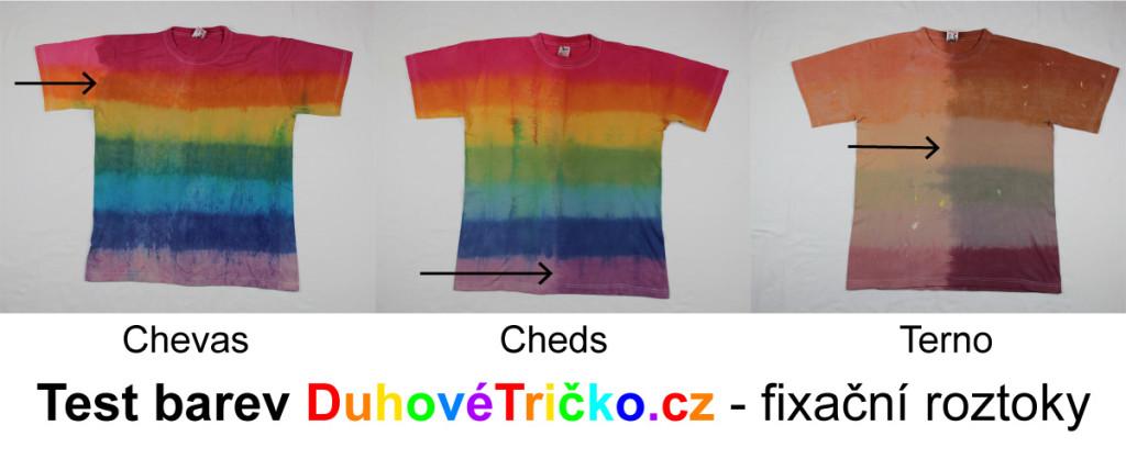 Test barev - fixační roztoky